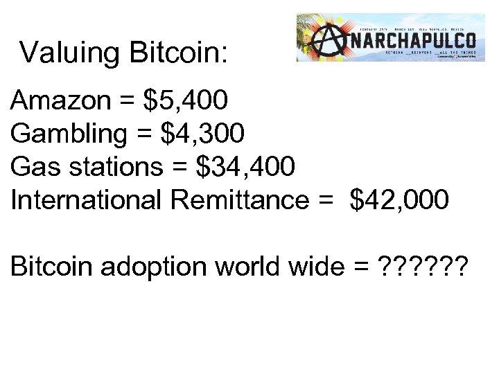 Valuing Bitcoin: Amazon = $5, 400 Gambling = $4, 300 Gas stations = $34,