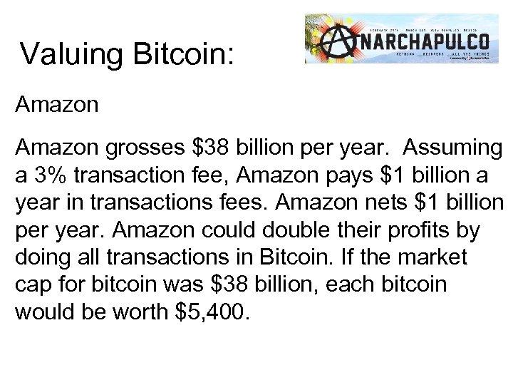 Valuing Bitcoin: Amazon grosses $38 billion per year. Assuming a 3% transaction fee, Amazon