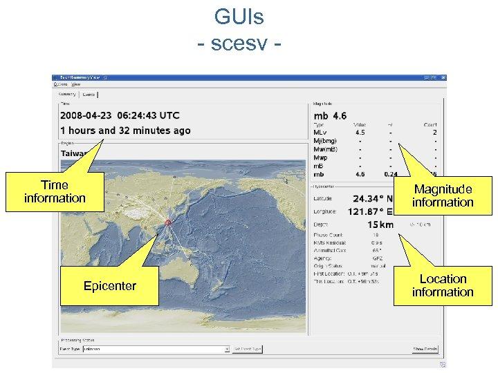 GUIs - scesv - Time information Epicenter Magnitude information Location information