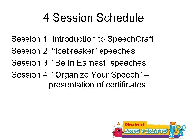 """4 Session Schedule Session 1: Introduction to Speech. Craft Session 2: """"Icebreaker"""" speeches Session"""