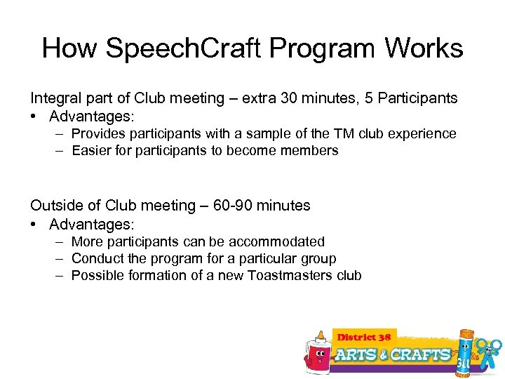 How Speech. Craft Program Works Integral part of Club meeting – extra 30 minutes,