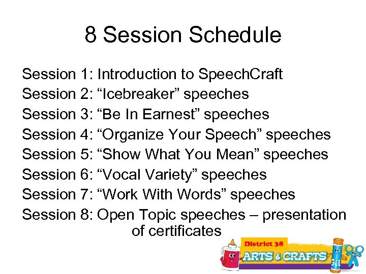 """8 Session Schedule Session 1: Introduction to Speech. Craft Session 2: """"Icebreaker"""" speeches Session"""