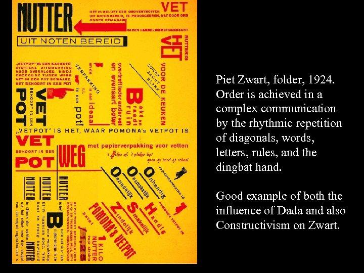 Piet Zwart, folder, 1924. Order is achieved in a complex communication by the rhythmic