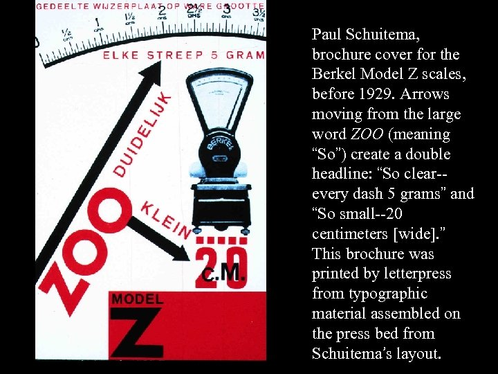 16 -55 Paul Schuitema, brochure cover for the Berkel Model Z scales, before 1929.
