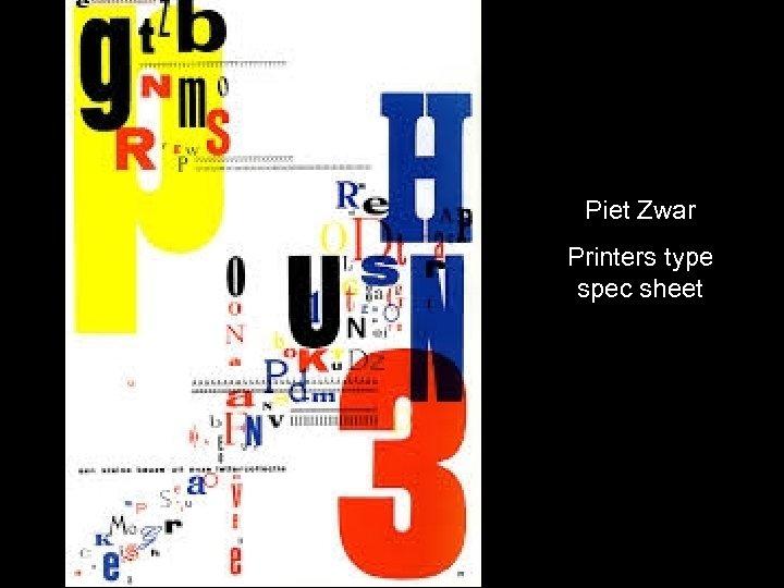 Piet Zwar Printers type spec sheet
