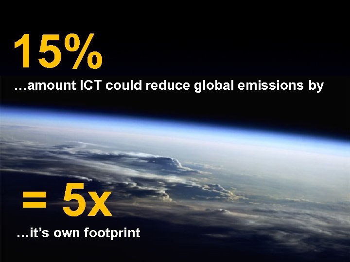 15% …amount ICT could reduce global emissions by = 5 x …it's own footprint