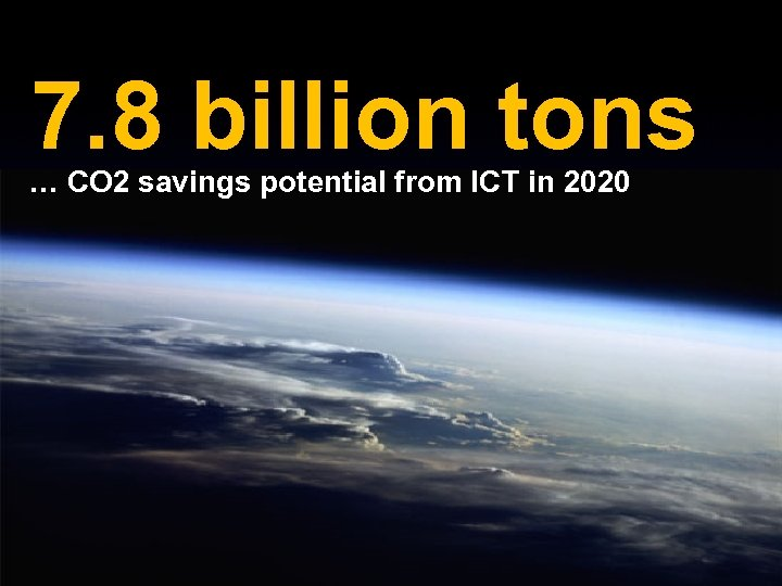 7. 8 billion tons … CO 2 savings potential from ICT in 2020