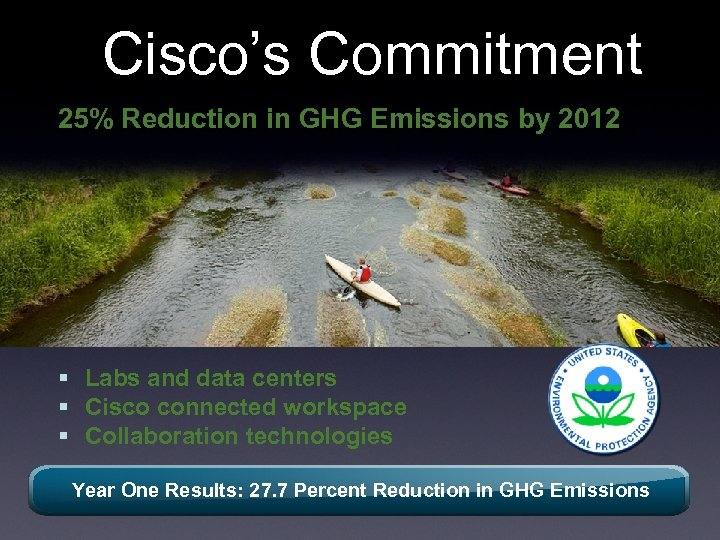Cisco's Commitment 25% Reduction in GHG Emissions by 2012 § Labs and data centers