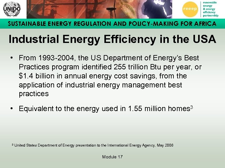 SUSTAINABLE ENERGY REGULATION AND POLICY-MAKING FOR AFRICA Industrial Energy Efficiency in the USA •