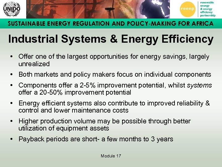 SUSTAINABLE ENERGY REGULATION AND POLICY-MAKING FOR AFRICA Industrial Systems & Energy Efficiency • Offer