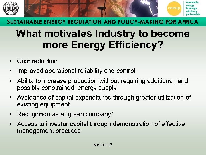 SUSTAINABLE ENERGY REGULATION AND POLICY-MAKING FOR AFRICA What motivates Industry to become more Energy