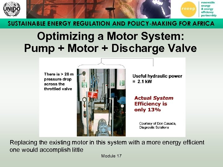 SUSTAINABLE ENERGY REGULATION AND POLICY-MAKING FOR AFRICA Optimizing a Motor System: Pump + Motor
