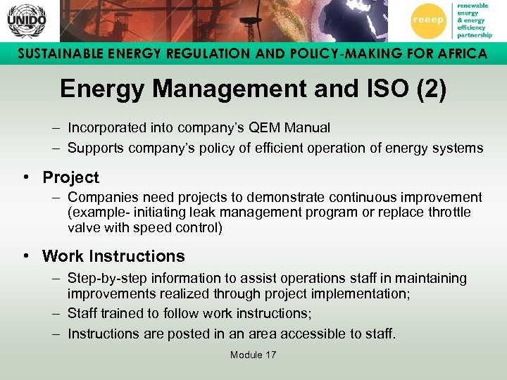 SUSTAINABLE ENERGY REGULATION AND POLICY-MAKING FOR AFRICA Energy Management and ISO (2) – Incorporated