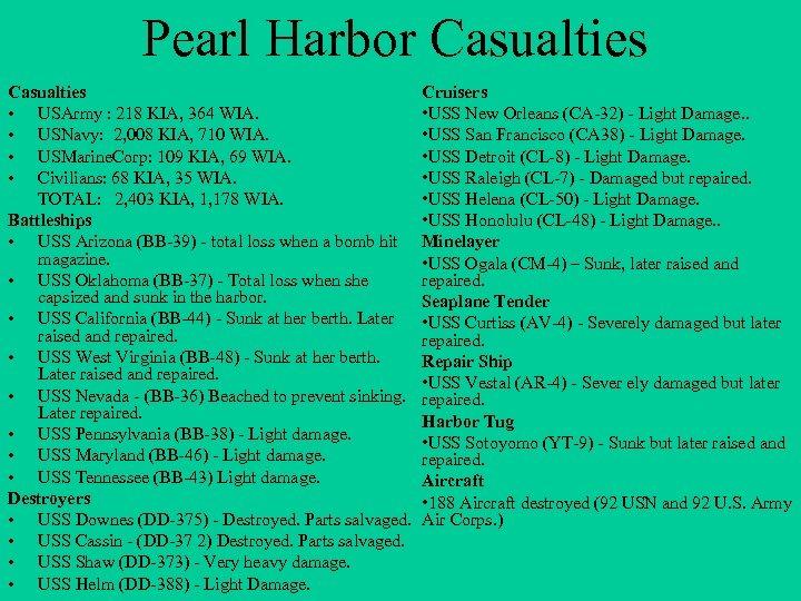 Pearl Harbor Casualties • USArmy : 218 KIA, 364 WIA. • USNavy: 2, 008