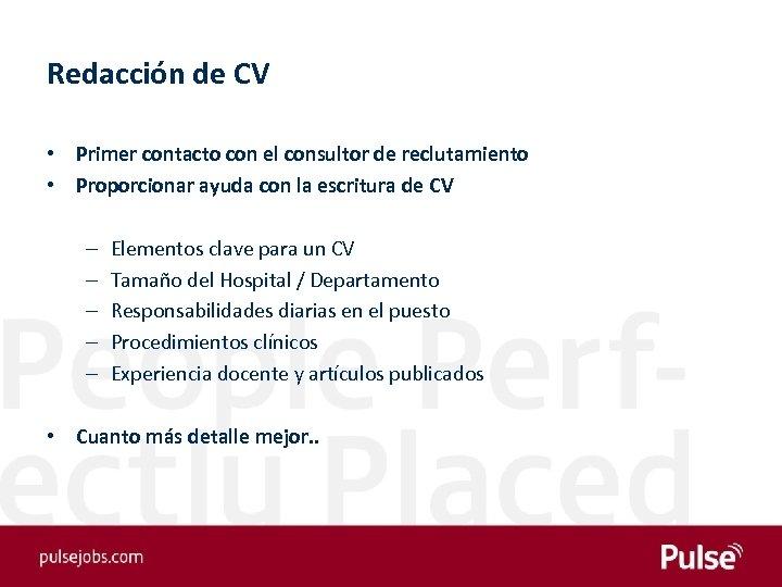 Redacción de CV • Primer contacto con el consultor de reclutamiento • Proporcionar ayuda