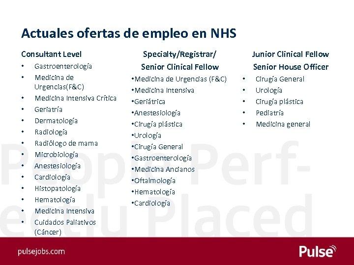 Actuales ofertas de empleo en NHS Consultant Level • • • • Gastroenterología Medicina