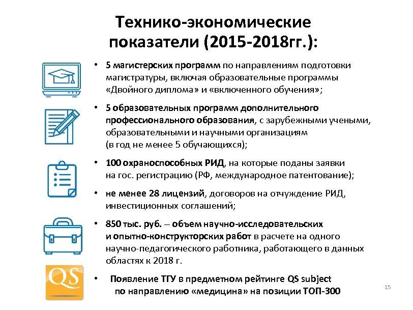 Технико-экономические показатели (2015 -2018 гг. ): • 5 магистерских программ по направлениям подготовки магистратуры,
