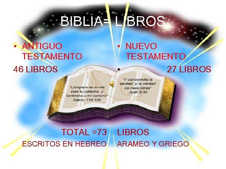 BIBLIA= LIBROS • ANTIGUO TESTAMENTO 46 LIBROS TOTAL =73 ESCRITOS EN HEBREO • NUEVO