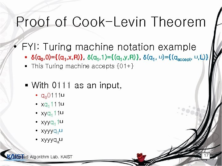 Proof of Cook-Levin Theorem • FYI: Turing machine notation example § δ(q 0, 0)={(q