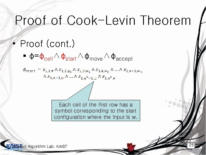 Proof of Cook-Levin Theorem • Proof (cont. ) § φ=φcell∧φstart∧φmove∧φaccept Each cell of the