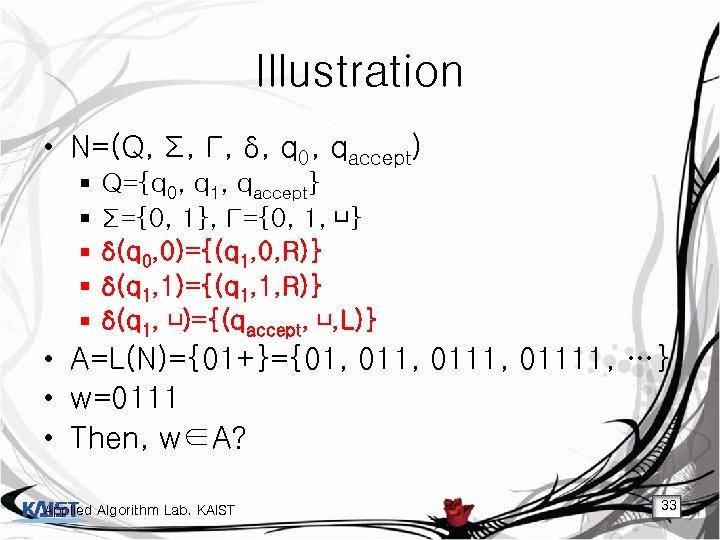 Illustration • N=(Q, Σ, Γ, δ, q 0, qaccept) § § § Q={q 0,