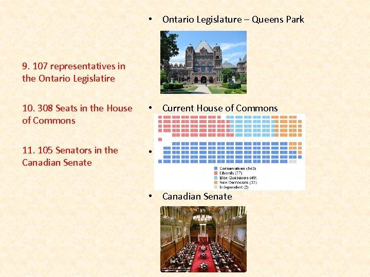 • Ontario Legislature – Queens Park 9. 107 representatives in the Ontario Legislatire
