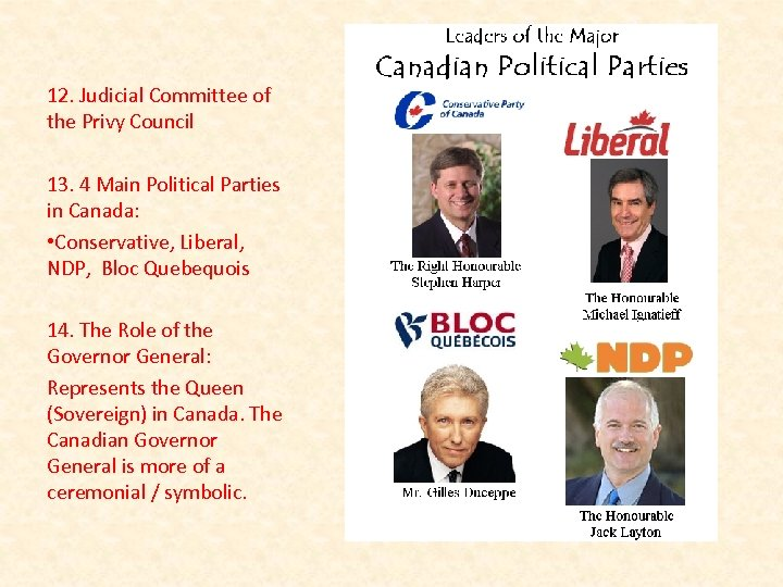 12. Judicial Committee of the Privy Council 13. 4 Main Political Parties in Canada: