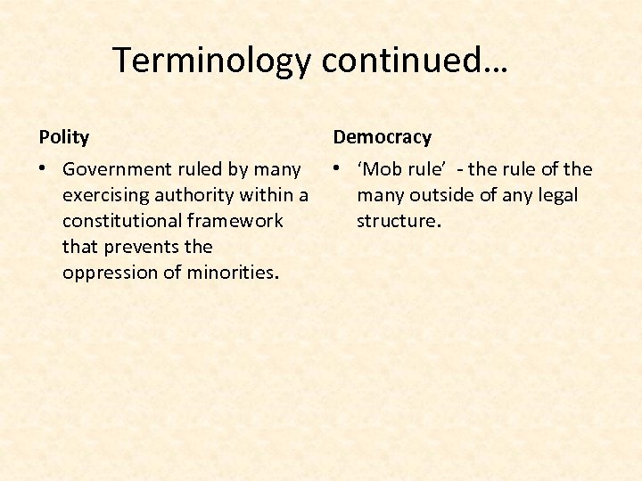 Terminology continued… Polity Democracy • Government ruled by many exercising authority within a constitutional