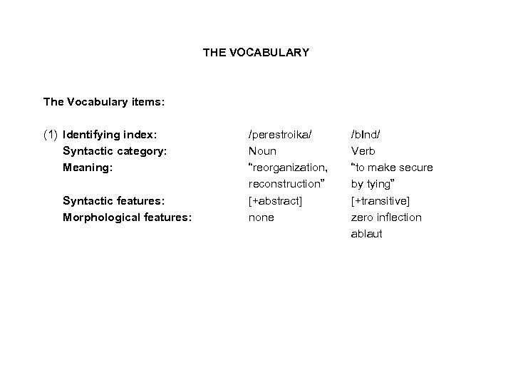 THE VOCABULARY The Vocabulary items: (1) Identifying index: Syntactic category: Meaning: Syntactic features: Morphological
