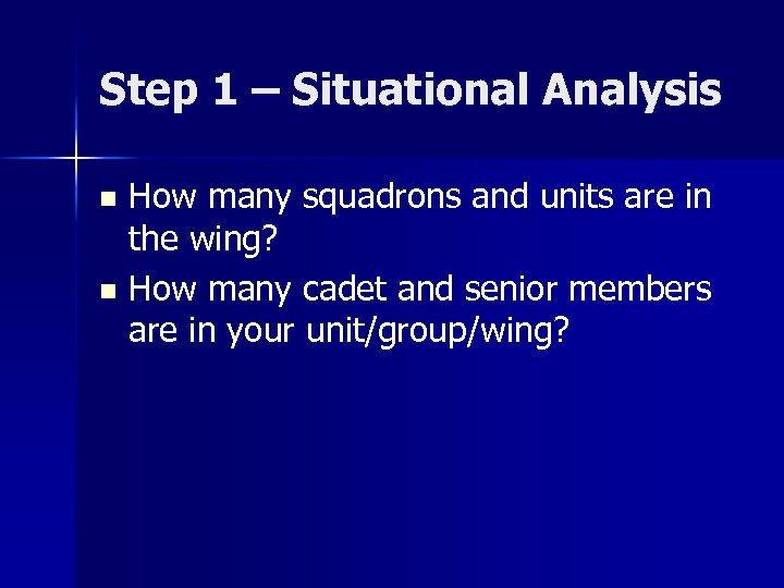 Step 1 – Situational Analysis How many squadrons and units are in the wing?