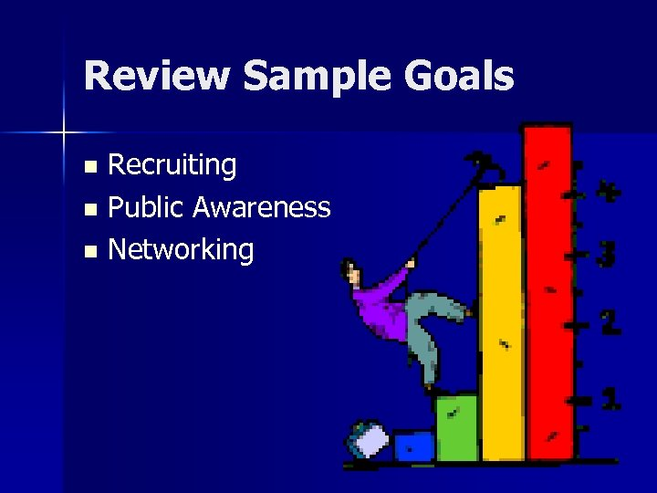 Review Sample Goals Recruiting n Public Awareness n Networking n