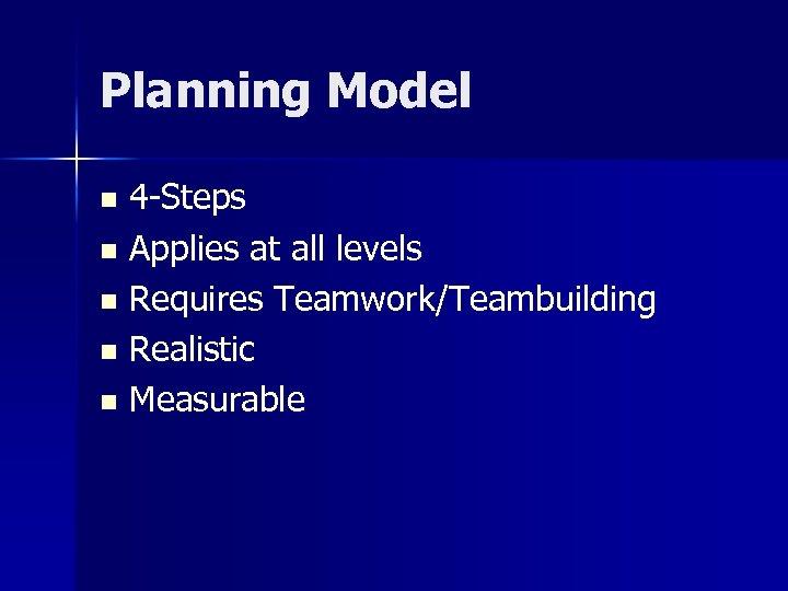Planning Model 4 -Steps n Applies at all levels n Requires Teamwork/Teambuilding n Realistic