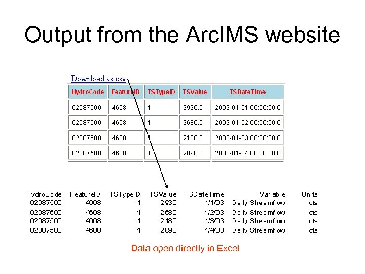 Output from the Arc. IMS website Data open directly in Excel