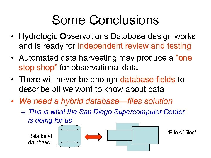 Some Conclusions • Hydrologic Observations Database design works and is ready for independent review