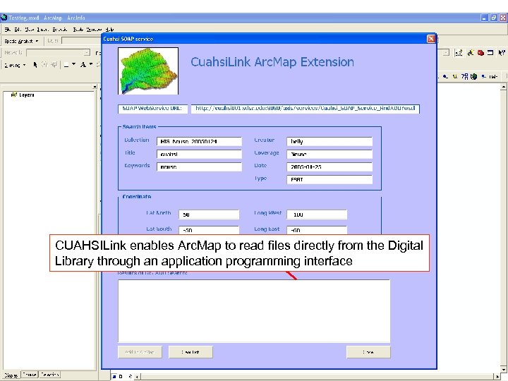 CUAHSILink enables Arc. Map to read files directly from the Digital Library through an