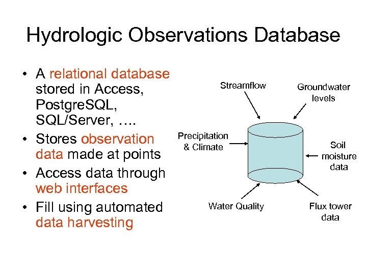 Hydrologic Observations Database • A relational database stored in Access, Postgre. SQL, SQL/Server, ….