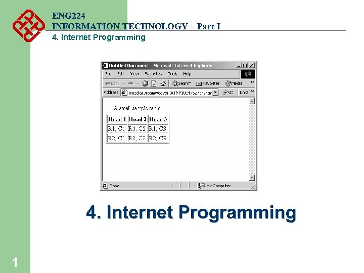 ENG 224 INFORMATION TECHNOLOGY – Part I 4. Internet Programming 1