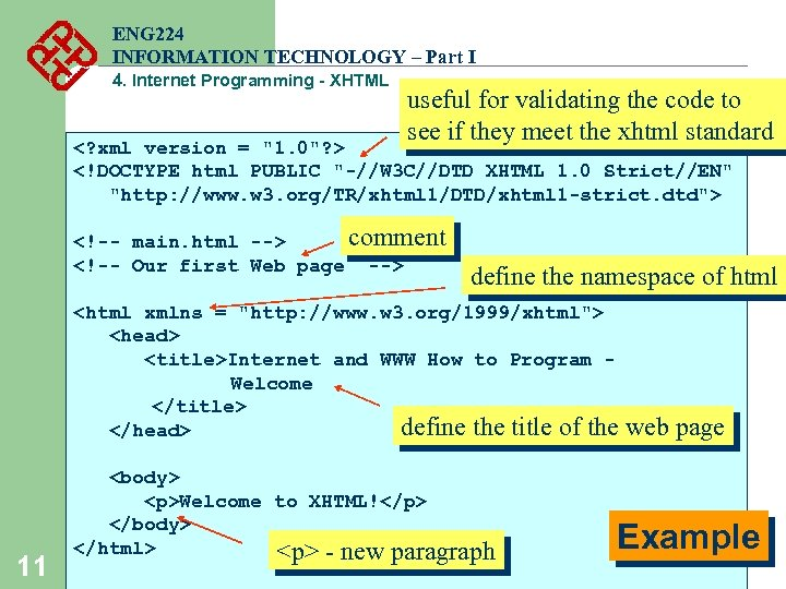 ENG 224 INFORMATION TECHNOLOGY – Part I 4. Internet Programming - XHTML useful for