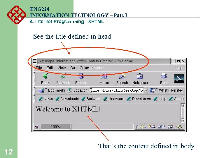 ENG 224 INFORMATION TECHNOLOGY – Part I 4. Internet Programming - XHTML See the