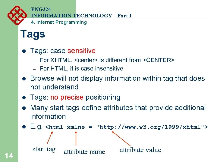 ENG 224 INFORMATION TECHNOLOGY – Part I 4. Internet Programming Tags l Tags: case