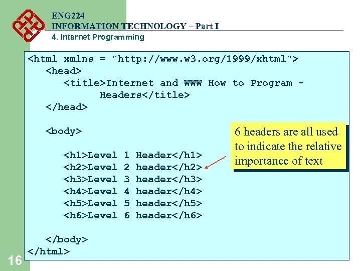 ENG 224 INFORMATION TECHNOLOGY – Part I 4. Internet Programming <html xmlns =