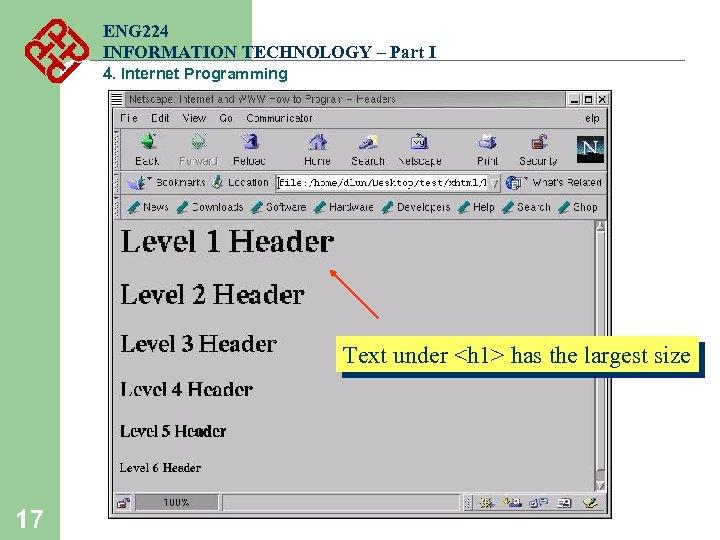 ENG 224 INFORMATION TECHNOLOGY – Part I 4. Internet Programming Text under <h 1>