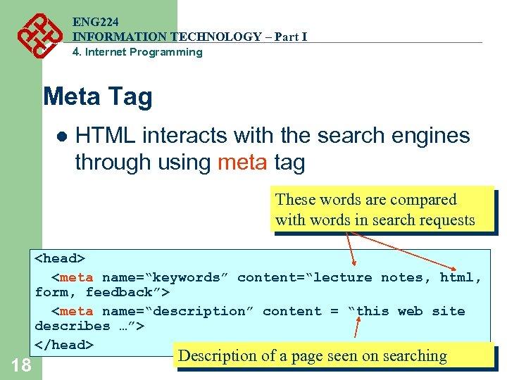 ENG 224 INFORMATION TECHNOLOGY – Part I 4. Internet Programming Meta Tag l HTML
