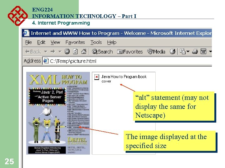 "ENG 224 INFORMATION TECHNOLOGY – Part I 4. Internet Programming ""alt"" statement (may not"