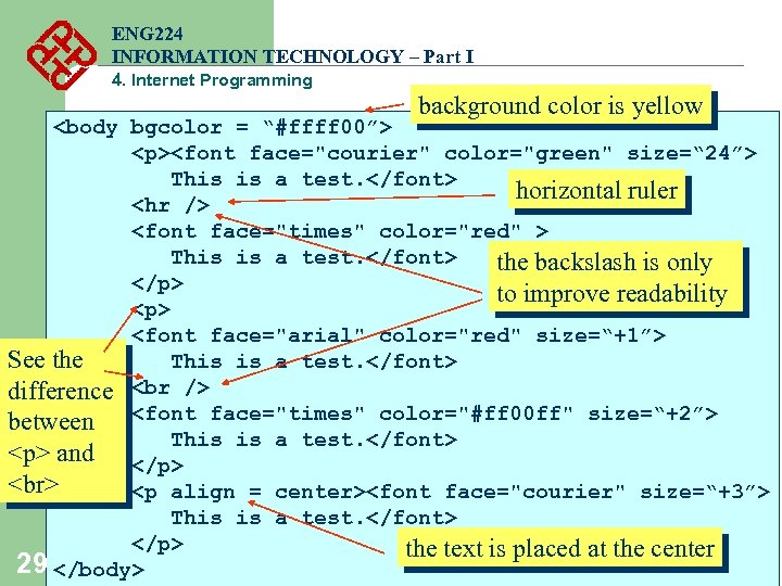 ENG 224 INFORMATION TECHNOLOGY – Part I 4. Internet Programming background color is yellow