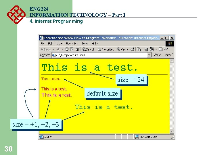 ENG 224 INFORMATION TECHNOLOGY – Part I 4. Internet Programming size = 24 default