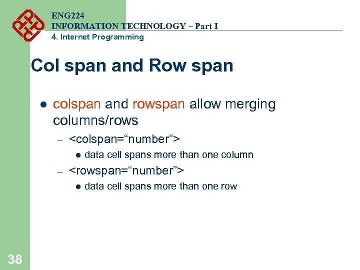 ENG 224 INFORMATION TECHNOLOGY – Part I 4. Internet Programming Col span and Row