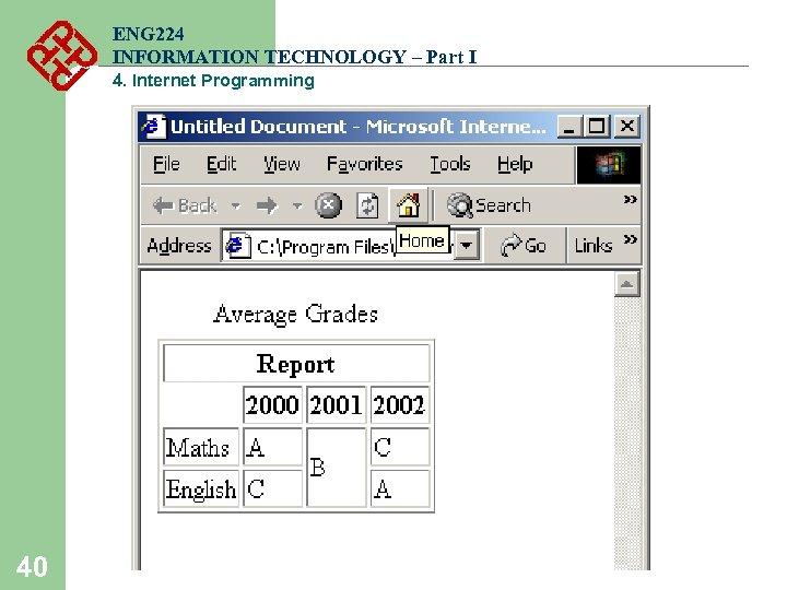ENG 224 INFORMATION TECHNOLOGY – Part I 4. Internet Programming 40