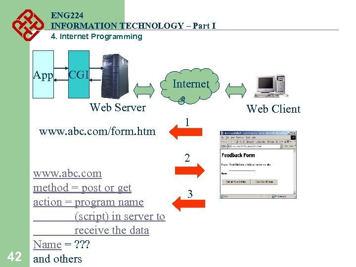 ENG 224 INFORMATION TECHNOLOGY – Part I 4. Internet Programming App CGI Internet Web