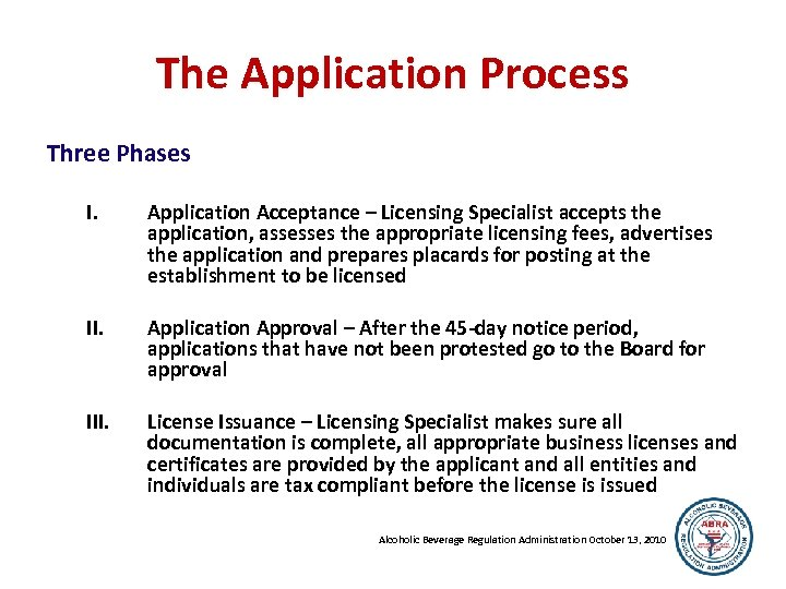 The Application Process Three Phases I. Application Acceptance – Licensing Specialist accepts the application,